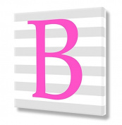 "Stretched Canvas Print Pink Letter ""B"" Monogram Letters Nursery Wall Art VWAQ-160B"