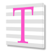 "Stretched Canvas Print Pink Letter ""T"" Monogram Letters Nursery Wall Art VWAQ-160T"