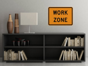 Work Zone Sign Fabric Wall Decal - Traffic and Street Signs - Medium - 3 Sizes Available - Non-Toxic, Reusable, Repositionable