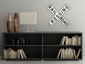Rail Road Crossing Sign Fabric Wall Decal - Traffic and Street Signs - Small - 3 Sizes Available - Non-Toxic, Reusable, Repositionable