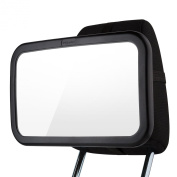 Baby Car Mirror BabyView® with Lifetime Guarantee Extra Large (23cm ) - Wide Adjustable Range for Any Easy to Instal on Any Headrest - Comes with a Useful Ebook Gift and a Special Relaxing Audio File