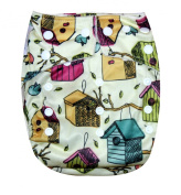 "Kawaii Baby One Size Organic Bamboo Terry Cloth Nappy with 2 Bamboo Inserts ""Bird House"""
