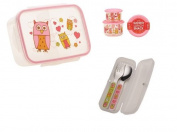 Sugarbooger Divided Lunch Box, (2) Small Storage Containers, and Silverware- Hoot Owl
