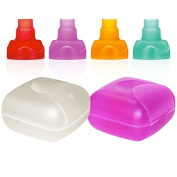 ChooMee Travel Case Set | Purple & White | + 4 Sip'n Soft Tops | Red Purple Orange Aqua