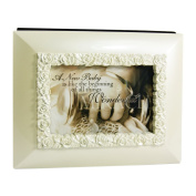 A New Baby Wonderful Miracle Ivory Rose 5 X 7 Keepsake Photo Picture Album with Easel Back