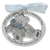 SWEET TEDDY BEAR Crib Medal for Baby BOY Crib Medal with Verse 10cm PEWTER Finish - CHRISTENING/SHOWER GIFT/Baptism KEEPSAKE/with BLUE RIBBON - INFANT - Newborn