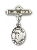 IceCarats® Designer Jewellery Sterling Silver St. Aidan Of Lindesfarne Charm Godchild Badge Pin 1 X 5/8