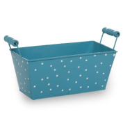 Polka Dot Rectangular with Wood Handle - Turquoise