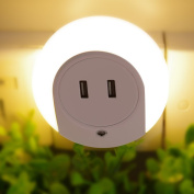 Zitrades LED Night Light with Dusk to Dawn Sensor and USB Charger