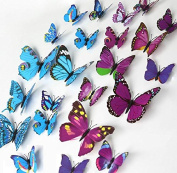 ElecMotive® 24 Pcs 2 Packs Beautiful 3D Butterfly Wall Decals DIY Home Decorations Art Decor Wall Stickers & Murals for Babys Bedroom TV Background Living Room (Pack of 2 Colour)