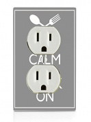 Keep Calm And Cook Quote Art Electrical Outlet Plate