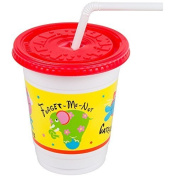 8 Plastic Kid's Cups (Critter Print) with Lid and Straw Plus Bonus FREE ~ 50 Party Stiickers