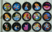 15 Alice in Wonderland BLACK Bottle Cap Pendant Necklaces Set 2