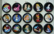 15 Alice in Wonderland BLACK Bottle Cap Pendant Necklaces Set 1