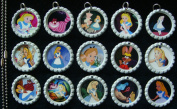 15 Alice in Wonderland WHITE Bottle Cap Pendant Necklaces Set 1