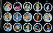 15 Alice in Wonderland WHITE Bottle Cap Pendant Necklaces Set 1