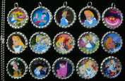 15 Alice In Wonderland SILVER Bottle Cap Pendant Necklaces Set 2