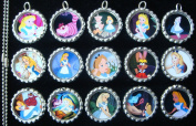 15 Alice In Wonderland SILVER Bottle Cap Pendant Necklaces Set 1