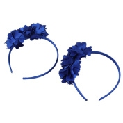 Blue Infant Baby Princess 3 Flowers Headband Headwear Hair Clasp Hair Accessories Pack of 2