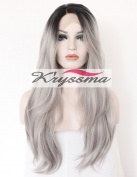 K'ryssma Women's Long Natural Straight Ombre Black to Silver Grey Dark Roots Synthetic Wigs Glueless Lace Front Hair Half Hand Tied Heat Resistant Fibre 60cm