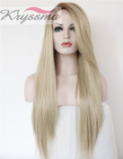 K'ryssma Women's Long Natural Straight Ombre Blonde Glueless Lace Front Synthetic Hair Wigs Side Part Heat Resistant Half Hand Tied 60cm