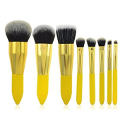 Miss Pouty 8 Piece Yellow Make Up Brushes Set Premium Quality Chrome Professional Makeup Brush Set