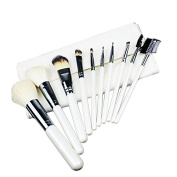 Miss Pouty 'your worth it' 10 Piece White Make Up Brushes Professional Chrome Silver Makeup Brush Set
