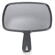 TOOGOO(R)Hand Held Hair dressing Salon Barbers Hairdressers Paddle Mirror Tool with Handle Black Make Up Hairdressing