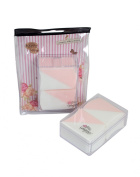 Miss Gorgeous Triangle Design Women Makeup Puff with Case Pack of 4 Pink & White
