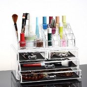 Hotrose® Cosmetic Organiser Clear Acrylic Makeup Drawers Holder for Jewellery Storage