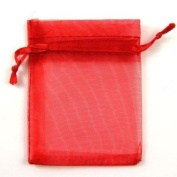 Winrembrandt 100Pcs Organza Jewellery Bags Organiser Gift Present Holder for Wedding Christmas Red