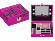 S & S Mini Light Up Pink Cosmetic Vanity Trinket Case Gift Set 'Make Up and Sparkle'