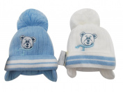 BNWT boys warm winter little ted bobble hat in blue or white 0-3 3-6 Months
