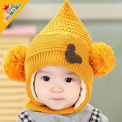HHM BABY-New Korean infants and children hats baby hat lovely autumn and winter beanie hat for men and women double caddy , khaki