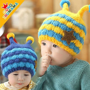 HHM BABY-Double caddy cap corners hat baby hat baby hat hedging new winter plus velvet ear hat , denim blue