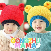 HHM BABY-New autumn and winter wool hat Korean children 3D Bear plush ear cap double cap , red