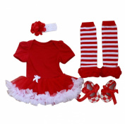 Marlegard® Baby Girls' 4PCs Solid Red Christmas Tutu Dress Headband Shoe Legging