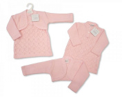 Pinkbluewhite Baby Girl Knitted Jumper Dress and Bolero Outfit Set Pink