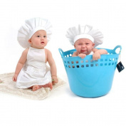 DAYAN Cute Baby cook costume white photos Photography Prop Newborn Hat Apron 0-6 months