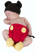 DAYAN Photography Prop Baby Costume Cute Crochet Knitted Hat Cap Girl Boy Nappy Shoes Mouse