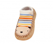 Moolecole Baby Boy Girl Toddlers Kids Indoor Slippers Shoe Socks Moccasins ANTI Skid Cute Floor Socks Shoes Khaki Bear 10.5cm