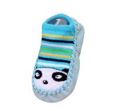 Moolecole Baby Boy Girl Toddlers Kids Spring & Autumn Indoor Slippers Shoe Socks Moccasins ANTI Skid Cute Floor Socks Shoes Striped Panda 10.5cm