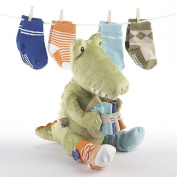 Croc in Socks Plush Toy and Baby Socks Gift Set