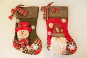 Santa & Snowman Festive Chums 2 assortd Christmas Stockings 40cm- New for 2015