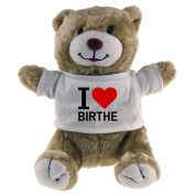 Classic Soft Toy Bear I Love Birthe beige