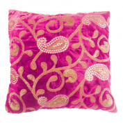 Indian Pillow Case Paisley Embroidered Home Decor Pink Cushion Velvet Cover 41cm