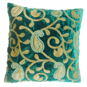 Pillow Case Paisley Embroidered Indian Home Decor Green Cushion Velvet Cover 41cm