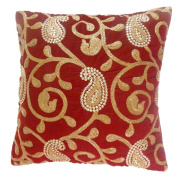 Indian Cushion Cover Maroon Home Decor Paisley Pillow Velvet Case 16 X 16