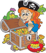 Stickersnews-Treasure Map Sticker for Child's Room pirate Height 30 cm Ref 3593
