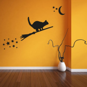 Halloween Cat on a broomstick wall sticker - Part of our Halloween wall sticker range